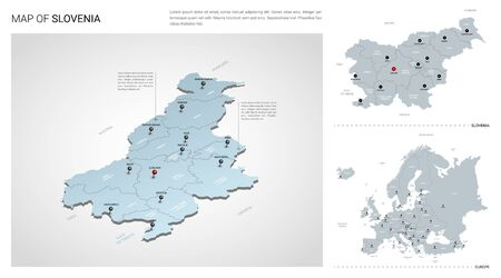 Vector set of Slovenia country.  Isometric 3d map, Slovenia map, Europe map - with region, state names and city names.