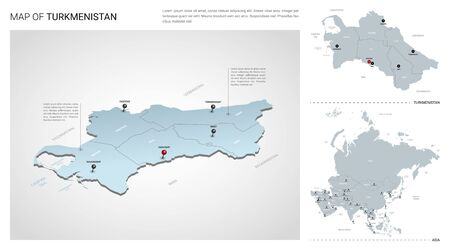 Vector set of Turkmenistan country.  Isometric 3d map, Turkmenistan map, Asia map - with region, state names and city names. Stock Illustratie