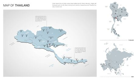 Vector set of Thailand country.  Isometric 3d map, Thailand map, Asia map - with region, state names and city names.