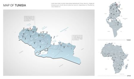 Vector set of Tunisia country.  Isometric 3d map, Tunisia map, Africa map - with region, state names and city names.