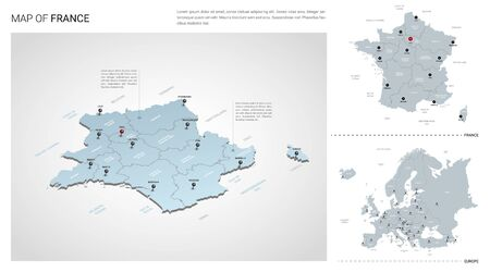 Vector set of France country.  Isometric 3d map, France map, Europe map - with region, state names and city names.