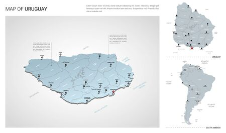 Vector set of Uruguay country.  Isometric 3d map, Uruguay map, South America map - with region, state names and city names. Stock Illustratie
