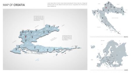 Vector set of Croatia country.  Isometric 3d map, Croatia map, Europe map - with region, state names and city names.   イラスト・ベクター素材