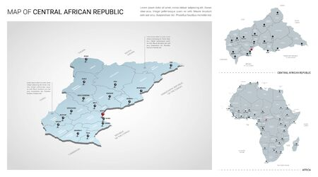 Vector set of Central African Republic country.  Isometric 3d map, Central African Republic map, Africa map - with region, state names and city names.
