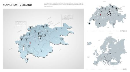 Vector set of Switzerland country.  Isometric 3d map, Switzerland map, Europe map - with region, state names and city names.