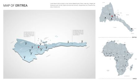 Vector set of Eritrea country.  Isometric 3d map, Eritrea map, Africa map - with region, state names and city names.