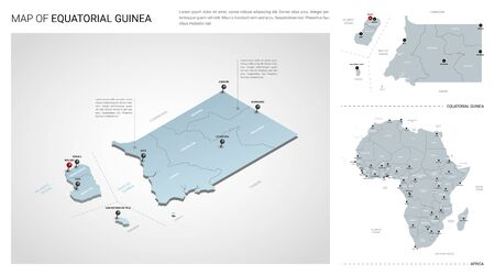 Vector set of Equatorial Guinea country.  Isometric 3d map, Equatorial Guinea map, Africa map - with region, state names and city names.  イラスト・ベクター素材