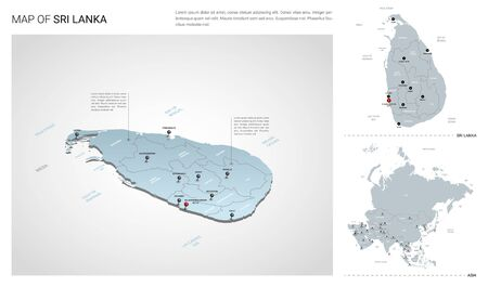 Vector set of Sri Lanka country.  Isometric 3d map, Sri Lanka map, Asia map - with region, state names and city names. Ilustrace