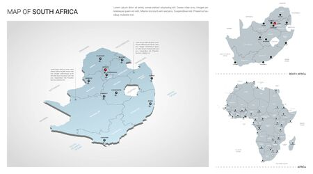 Vector set of South Africa country.  Isometric 3d map, South Africa map, Africa map - with region, state names and city names.  イラスト・ベクター素材