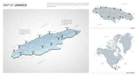 Vector set of Jamaica country.  Isometric 3d map, Jamaica map, North America map - with region, state names and city names.