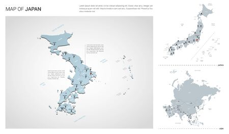 Vector set of Japan country.  Isometric 3d map, Japan map, Asia map - with region, state names and city names.