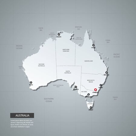 Vector illustration - administrative map of Australia with 3D style.  Map with regions, borders, names. World geography.