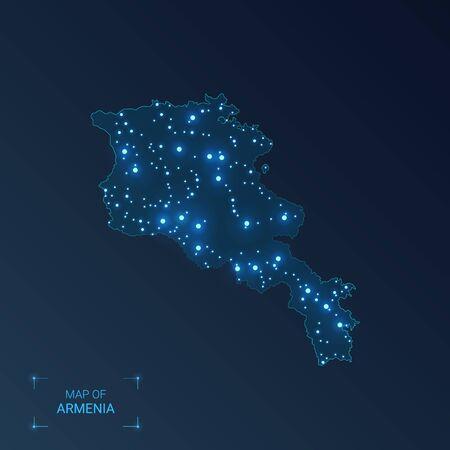 Armenia map with cities. Luminous dots - neon lights on dark background. Vector illustration. Illustration