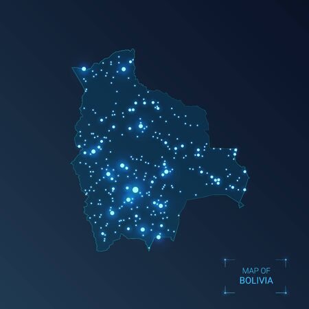 Bolivia map with cities. Luminous dots - neon lights on dark background. Vector illustration.