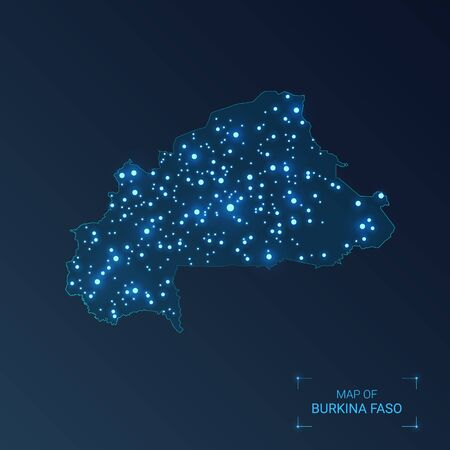 Burkina Faso map with cities. Luminous dots - neon lights on dark background. Vector illustration.  Ilustração