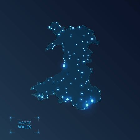 Wales map with cities. Luminous dots - neon lights on dark background. Vector illustration.