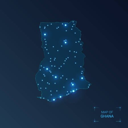 Ghana map with cities. Luminous dots - neon lights on dark background. Vector illustration.  矢量图像