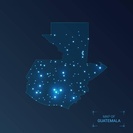 Guatemala map with cities. Luminous dots - neon lights on dark background. Vector illustration.