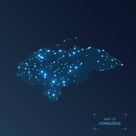 Honduras map with cities. Luminous dots - neon lights on dark background. Vector illustration.