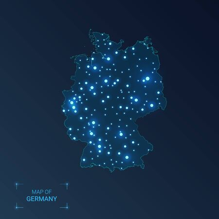 Germany map with cities. Luminous dots - neon lights on dark background. Vector illustration.