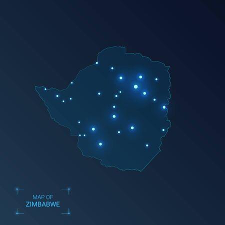 Zimbabwe map with cities. Luminous dots - neon lights on dark background. Vector illustration.  Ilustração