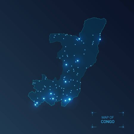 Congo map with cities. Luminous dots - neon lights on dark background. Vector illustration.