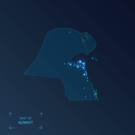 Carte du Koweït avec les villes. Points lumineux - néons sur fond sombre. Illustration vectorielle.