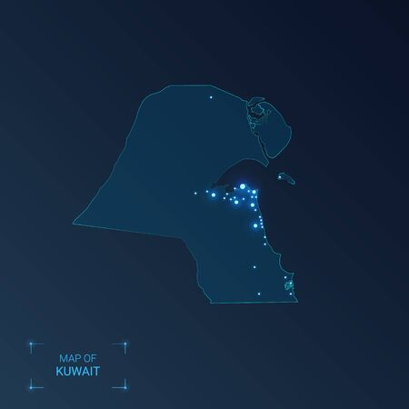 Kuwait map with cities. Luminous dots - neon lights on dark background. Vector illustration.