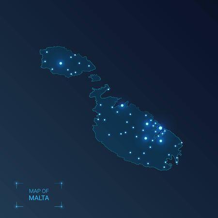Malta map with cities. Luminous dots - neon lights on dark background. Vector illustration. 向量圖像