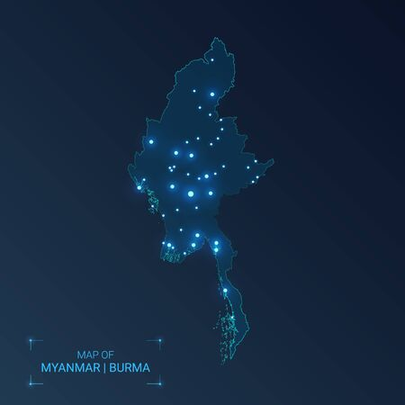 Myanmar Burma  map with cities. Luminous dots - neon lights on dark background. Vector illustration.  矢量图像
