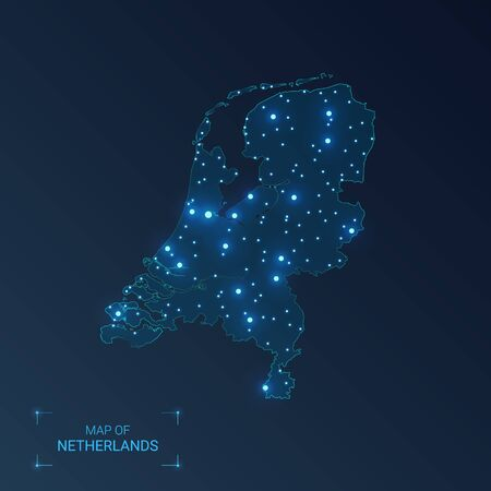 Netherlands map with cities. Luminous dots - neon lights on dark background. Vector illustration.