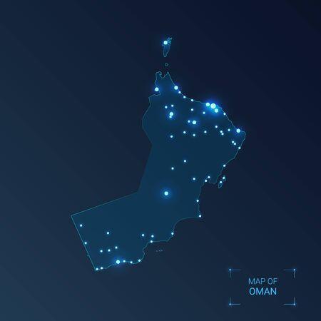 Oman map with cities. Luminous dots - neon lights on dark background. Vector illustration. 向量圖像