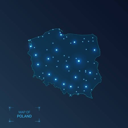 Poland map with cities. Luminous dots - neon lights on dark background. Vector illustration.