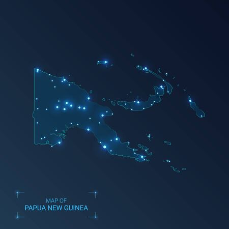 Papua New Guinea map with cities. Luminous dots - neon lights on dark background. Vector illustration.