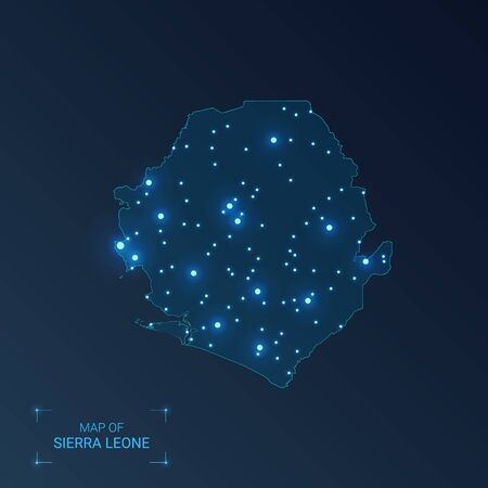 Sierra Leone map with cities. Luminous dots - neon lights on dark background. Vector illustration.