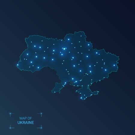 Ukraine map with cities. Luminous dots - neon lights on dark background. Vector illustration.