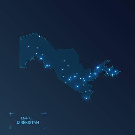Uzbekistan map with cities. Luminous dots - neon lights on dark background. Vector illustration. Illustration