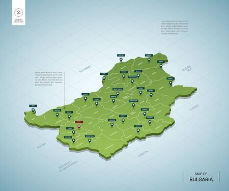 Stylized map of Bulgaria. Isometric 3D green map with cities, borders, capital Sofia, regions. Vector illustration. Editable layers clearly labeled. English language.
