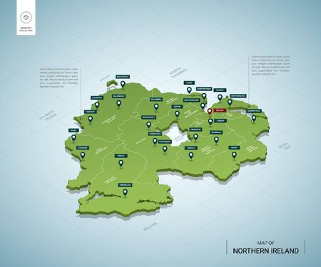 Stylized map of Northern Ireland. Isometric 3D green map with cities, borders, capital Belfast, regions. Vector illustration. Editable layers clearly labeled. English language.