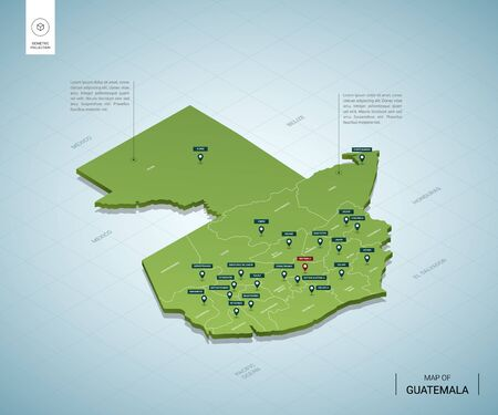 Stylized map of Guatemala. Isometric 3D green map with cities, borders, capital, regions. Vector illustration. Editable layers clearly labeled. English language.
