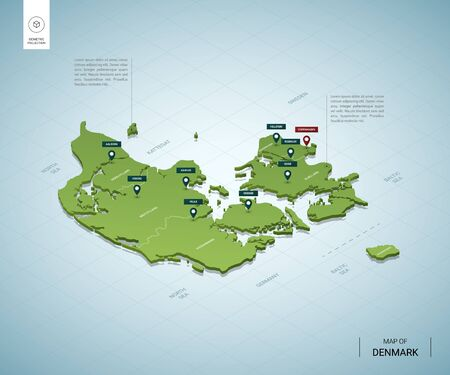 Stylized map of Denmark. Isometric 3D green map with cities, borders, capital Copenhagen, regions. Vector illustration. Editable layers clearly labeled. English language.