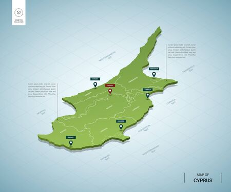 Stylized map of Cyprus. Isometric 3D green map with cities, borders, capital Nicosia, regions. Vector illustration. Editable layers clearly labeled. English language.