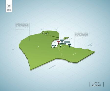 Stylized map of Kuwait. Isometric 3D green map with cities, borders, capital , regions. Vector illustration. Editable layers clearly labeled. English language.