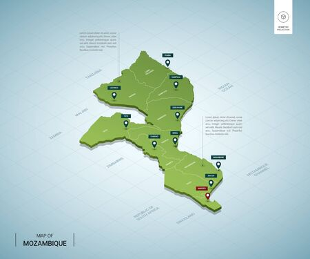 Stylized map of Mozambique. Isometric 3D green map with cities, borders, capital Maputo, regions. Vector illustration. Editable layers clearly labeled. English language.