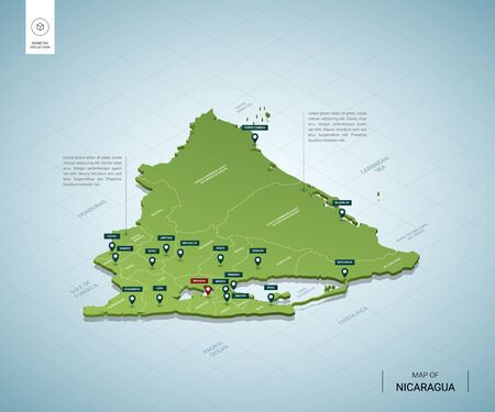 Stylized map of Nicaragua. Isometric 3D green map with cities, borders, capital Managua, regions. Vector illustration. Editable layers clearly labeled. English language.