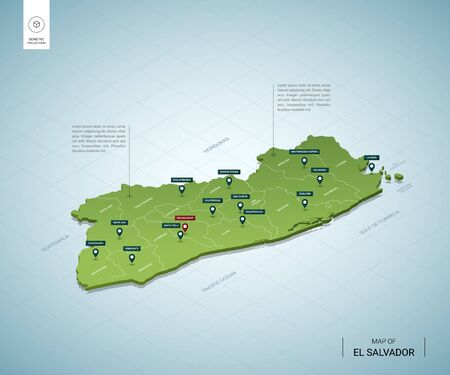 Stylized map of El Salvador. Isometric 3D green map with cities, borders, capital, regions. Vector illustration. Editable layers clearly labeled. English language.