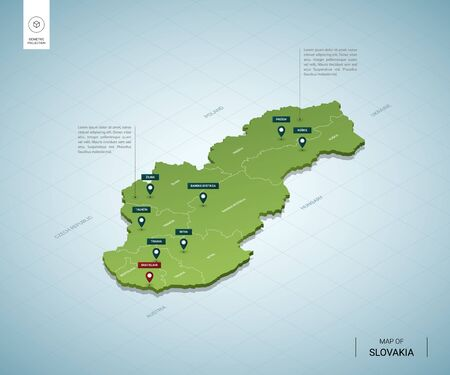 Stylized map of Slovakia. Isometric 3D green map with cities, borders, capital Bratislava, regions. Vector illustration. Editable layers clearly labeled. English language. Векторная Иллюстрация