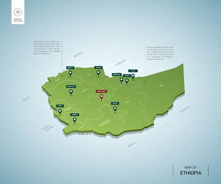 Stylized map of Ethiopia. Isometric 3D green map with cities, borders, capital Addis Ababa, regions. Vector illustration. Editable layers clearly labeled. English language.