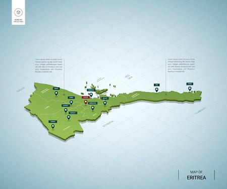 Stylized map of Eritrea. Isometric 3D green map with cities, borders, capital Asmara, regions. Vector illustration. Editable layers clearly labeled. English language.