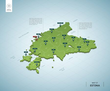 Stylized map of Estonia. Isometric 3D green map with cities, borders, capital Tallinn, regions. Vector illustration. Editable layers clearly labeled. English language. 向量圖像